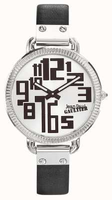 Jean Paul Gaultier Womens Index Black Leather Strap Silver Dial JP8504305