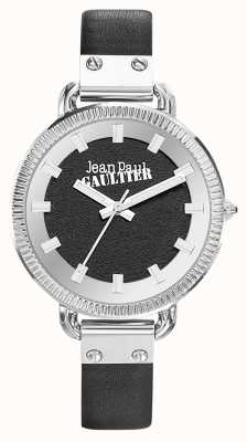 Jean Paul Gaultier Womens Index Black Leather Strap Black Dial JP8504312