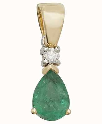 Treasure House 9k Yellow Gold Pear Emerald Diamond Pendant PD237E