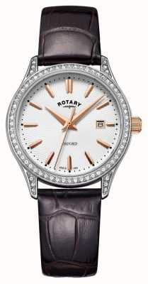 Rotary Womens Oxford Leather Strap Stainless Steel Quartz Watch LS05092/02