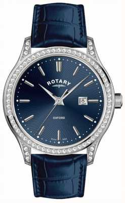 Rotary Womens Oxford Leather Strap Blue Quartz Watch LS05092/05