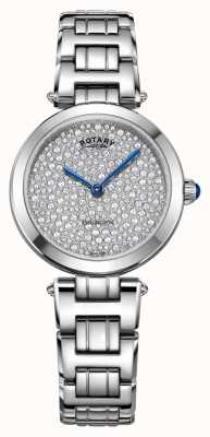 Rotary Rotary Kensington Pave Steel Quartz Watch LB05190/33