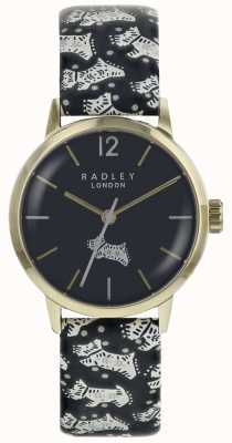 Radley Womans Folk Dog Black Dial Gold PVD Stainless Steel Case RY2570