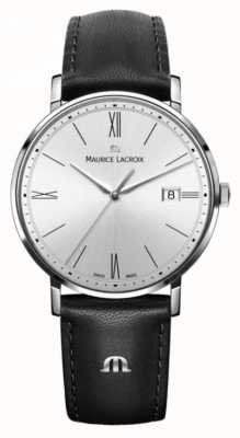 Maurice Lacroix womens Eliros Black Leather And Silver Case Watch EL1084-SS001-110-1