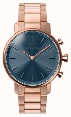 Kronaby 38mm CARAT Bluetooth Rose Gold Bracelet Blue Dial Smartwatch A1000-2445