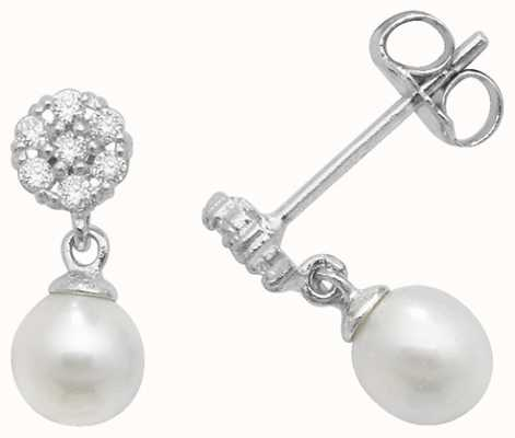 Treasure House 9k White Gold Pearl Cubic Zirconia Earrings ES462W