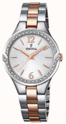 Festina Womens Two Tone Stainless Steel Bracelet Silver Dial F20247/1