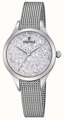 Festina Womens Mademoiselle Stainless Steel Mesh Swarovski Dial F20336/1