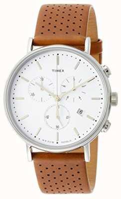 Timex Fairfield Chrono Brown Leather Strap/White Dial TW2R26700