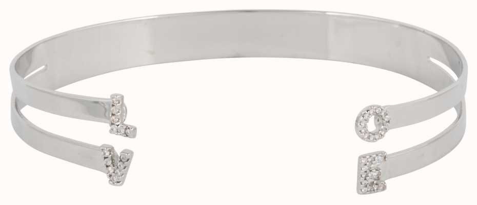 "Mya Bay Stainless Steel ""love 2 Bangle With Stones JC-LO-01.S"