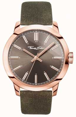 Thomas Sabo Mens Rebel At Heart Watch Brown Leather Strap Brown Dial WA0314-266-205-46