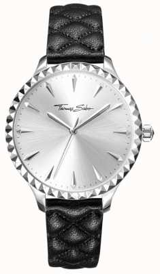 Thomas Sabo Womens Rebel At Heart Watch Black Leather Strap Silver Dial WA0320-203-201-38
