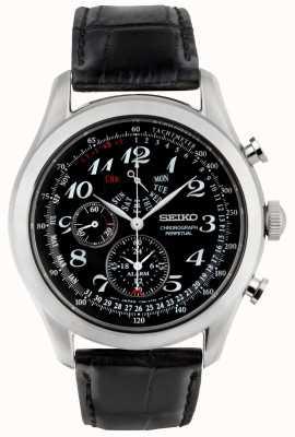 Seiko Mens Chronograph Watch Black Dial Black Leather Strap SPC133P1