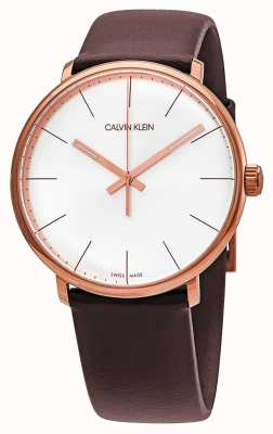 Calvin Klein Mens High Noon Rose Gold Case Brown Leather Strap K8M216G6