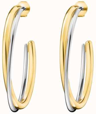 Calvin Klein Ladies Double Yellow Gold & Silver Stainless Steel Earrings KJ8XJE200100