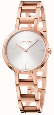 Calvin Klein Ladies Cheers Rose Gold PVD Plated Watch Silver Dial K8N23646