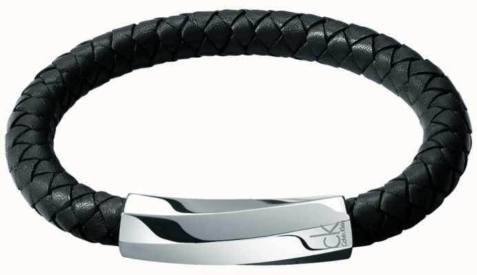 Calvin Klein Mens Bewilder Black Leather Twisted Bracelet KJ2BBB09010M