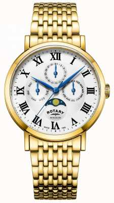 Rotary Mens Windsor Moonphase Watch Gold Plated Bracelet GB05328/01