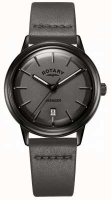 Rotary Mens Avenger Watch All Black IP Case Leather Straps GS05345/20