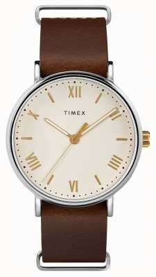 Timex Mens 41mm Southview Brown Leather Strap Cream Dial TW2R80400