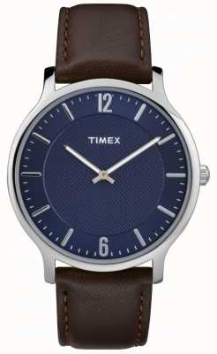 Timex Mens Slim Skyline 40mm Silver Case Brown Leather Blue Dial TW2R49900