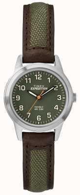 Timex Field Mini Brow Leather Green Dial TW4B12000