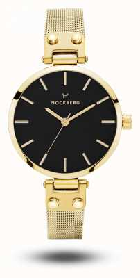 Mockberg Livia Petite Noir Gold PVD Plated Mesh Bracelet Black Dial MO403