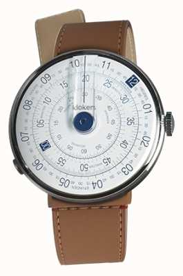Klokers KLOK 01 Blue Watch Head Caramel Brown Strait Single Strap KLOK-01-D4.1+KLINK-04-LC12