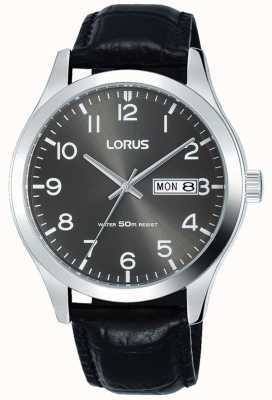 Lorus Black Leather Strap Grey Dial Date & Date Display RXN59DX9