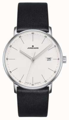 Junghans FORM Quartz black leather watch 41/4884.00
