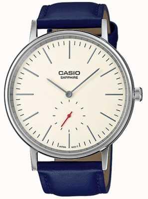 Casio Sapphire crystal cream dial blue genuine leather strap LTP-E148L-7AEF