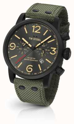 TW Steel Maverick Caliber Chronograph Green Canvas Strap black Dial MS124