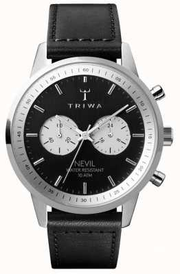 Triwa Slate Nevil Chronograph Black Dial Black Leather Strap NEST118-SC010112