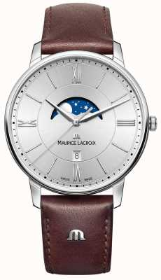 Maurice Lacroix Mens Eliros Moonphase Brown Leather Strap Silver Dial EL1108-SS001-110-1