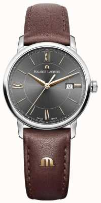 Maurice Lacroix Womens Eliros Brown Leather Strap Black Dial Gold Accents EL1094-SS001-311-1