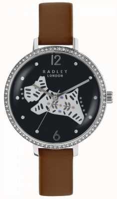 Radley Womens Folk Dog Watch Black Dial Brown Leather Strap RY2585