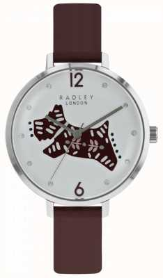 Radley Womens Folk Dog Watch Silver Dial Berry Leather Strap RY2581