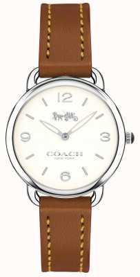 Coach Womens Delancey Slim Brown Leather Strap Watch White Dial 14502789