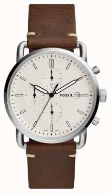 Fossil Mens Commuter Watch White Chronograph Brown Leather Strap FS5402