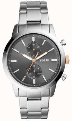 Fossil Mens Townsman Watch Grey Dial Stainless Steel Bracelet FS5407