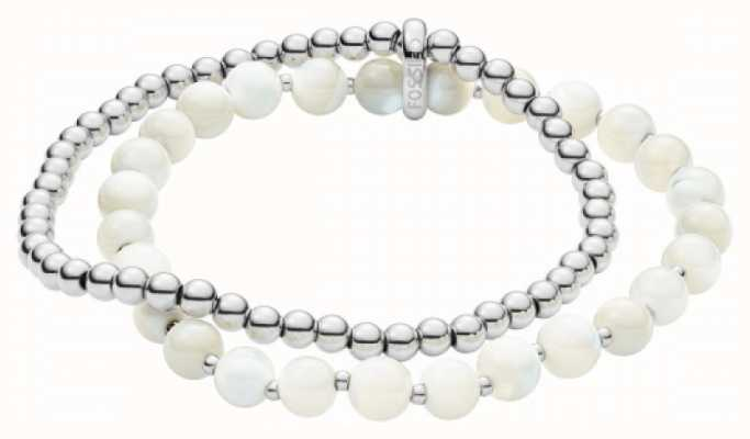 Fossil Double Bracelet Silver Tone And White Stone Beads JF02904040