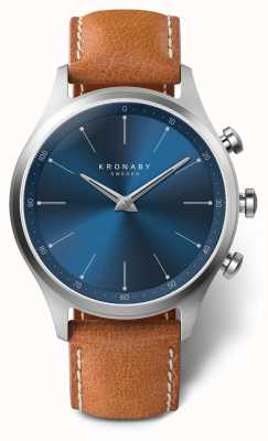 Kronaby 41mm SEKEL Blue Dial Brown Leather Strap A1000-3124