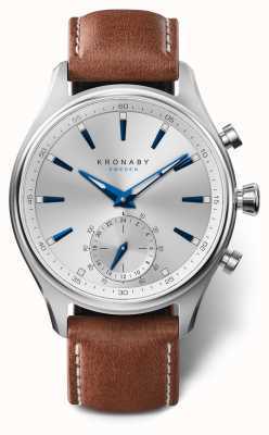 Kronaby 41mm SEKEL Silver Dial Brown Leather Strap A1000-3122