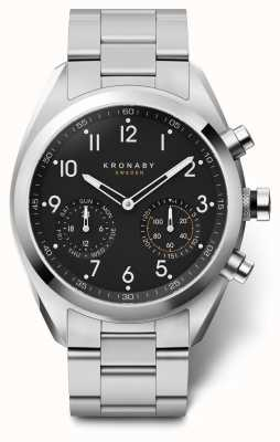 Kronaby 43mm APEX Black Dial Stainless Steel Bracelet A1000-3111