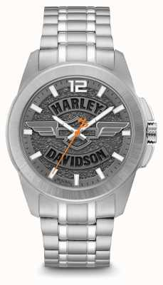 Harley Davidson Logo Print Dial Silver Stainless Steel Case And Bracelet 76A157