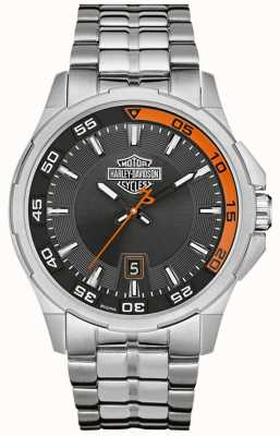Harley Davidson Dark Grey Dial Date Display Stainless Steel Bracelet 76B170