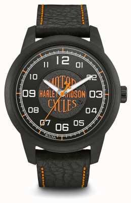 Harley Davidson Logo Print Black Dial IP Plated Case Black Leather Strap 78A116
