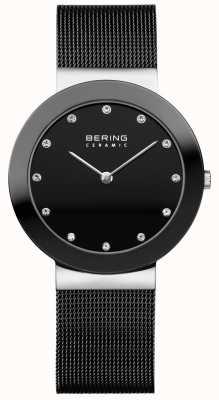 Bering Crystal Set Dial Ceramic Bezel Black Mesh Bracelet 11435-102