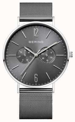 Bering Classic Dark Grey Dial Day & Date Display Mesh Bracelet 14240-309