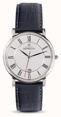 Michel Herbelin Men's Classic Black Leather Strap White Dial 12248/08